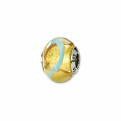 Sterling Silver Reflections Yellow/Gold/Blue Italian Murano Bead