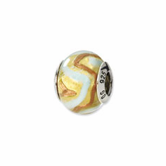 Sterling Silver Reflections Yellow/Gold/White Italian Murano Bead