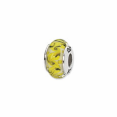 Sterling Silver Reflections Yellow/Green/White Swirl Glass Bead