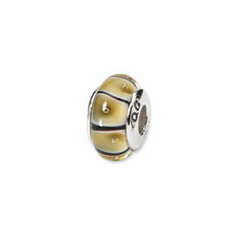 Sterling Silver Reflections Yellow Hand-blown Glass Bead