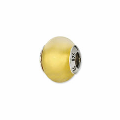 Sterling Silver Reflections Yellow Matte Italian Murano Bead
