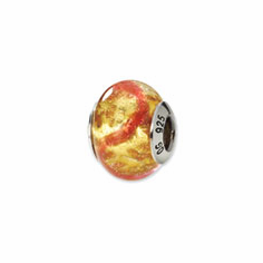 Sterling Silver Reflections Yellow/Pink/Gold Italian Murano Bead