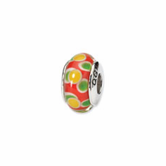 Sterling Silver Reflections Yellow/Red Hand-blown Glass Bead