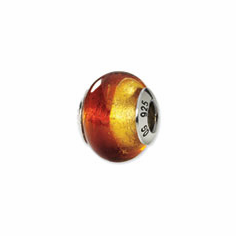 Sterling Silver Reflections Yellow/Red Italian Murano Bead