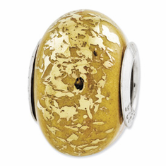 Sterling Silver Reflections Yellow w/Gold Foil Ceramic Bead