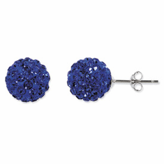 Sterling Silver Royal Blue Crystal 10mm Stud Earrings