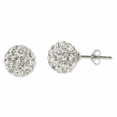 Sterling Silver White Crystal 10mm Stud Earrings