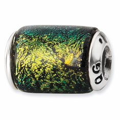 Sterling Silver Yellow Dichroic Glass Barrel Bead
