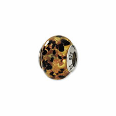 Sterling Silver Yellow/Gold/Black Italian Murano Bead