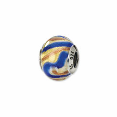 Sterling Silver Yellow/Gold/Blue Italian Murano Bead