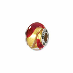 Sterling Silver Yellow/Gold/Red Italian Murano Bead