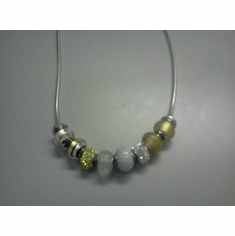 Sterling Silver Yellow murrano glass bead necklace