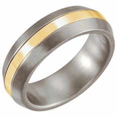 Titanium & 14K Yellow Inlay 6mm Satin Finished Band