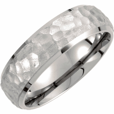 Titanium 7mm Hammered Finish Beveled Edge Band