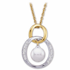TWO TONE AKOYA PEARL AND DIAMOND NECKLACE