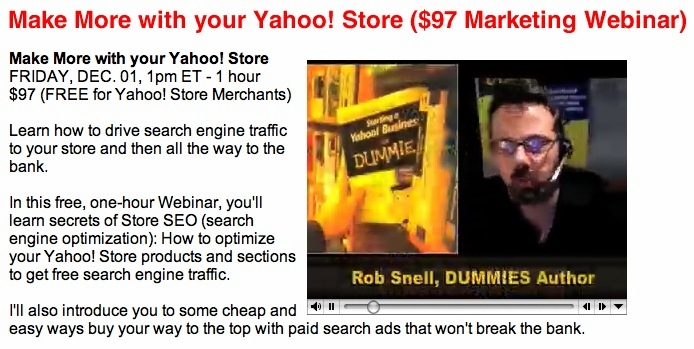 For Yahoo! Store Owners Only WEBINAR // 12-01-06, 1 pm ET