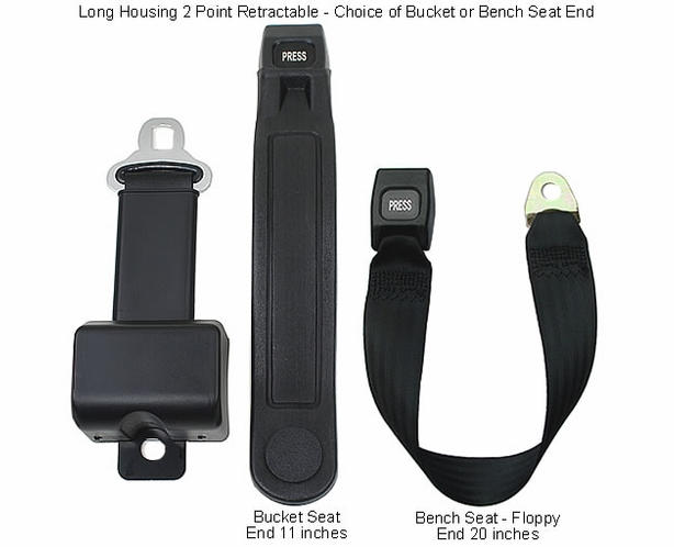 "2 Point Retractable Lap Belt - 8"" Long Housing Seatbelt - alternative view 1"