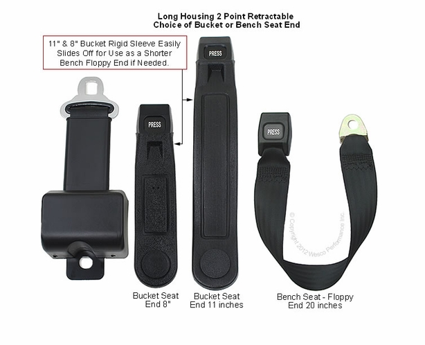 """8"""" Long Housing Retractable Tractor Seat Belts - alternative view 1"""