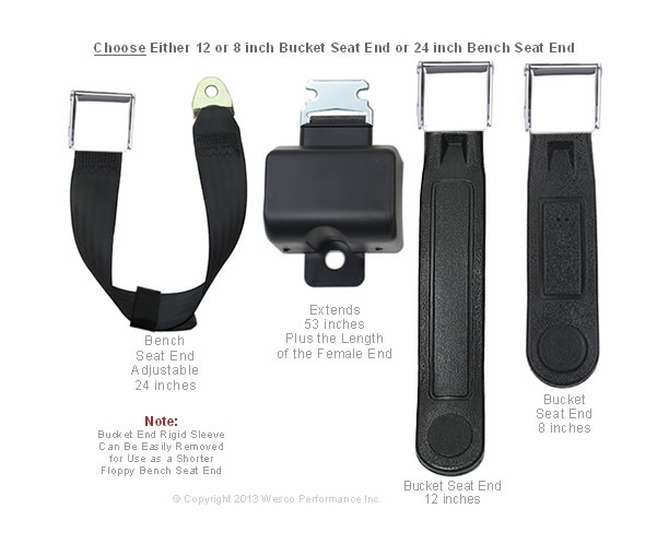 Retractable Lap Belt Short Boot with Chrome Buckle Seat Belt