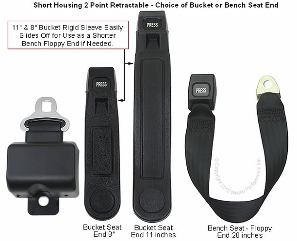 "Seat Belt 2 Point Retractable 5"" Short Housing Lap Belt - alternative view 1"