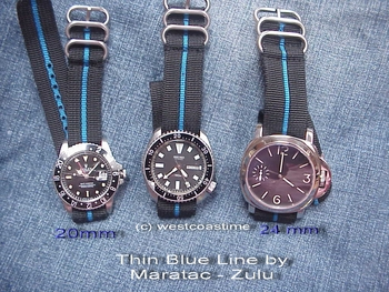 THIN BLUE LINE zulu watch band stripe for POLICE LE