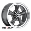 "15x6"" 930-G Retro Wheel Designs Charcoal Gray wheels rims 5x4.50"" Ford lug-pattern 3.50"" backspace"
