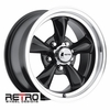 "15x7"" 930-B Retro Wheel Designs Black wheels rims 5x4.75"" Chevy lug-pattern 4.00"" backspace"