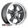 "15x7"" 930-G Retro Wheel Designs Charcoal Gray wheels rims 5x4.50"" Ford lug-pattern 4.00"" backspacing"