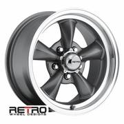 "15x7"" 930-G Retro Wheel Designs Charcoal Gray wheels rims 5x4.75"" Chevy lug-pattern 4.00"" backspacing"