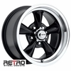 "15x8"" 930-B Retro Wheel Designs Black wheels rims 5x4.50"" Ford lug-pattern 4.50"" backspace"