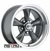 "15x8"" 930-G Retro Wheel Designs Charcoal Gray wheels rims 5x4.50"" Ford lug-pattern 4.50"" backspacing"