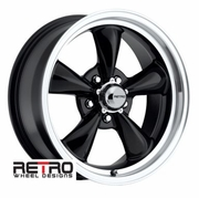 "17x7"" 930-B Retro Wheel Designs Black wheels rims 5x4.75"" Chevy lug-pattern 4.00"" backspace"