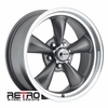 "17x7"" 930-G Retro Wheel Designs Charcoal Gray wheels rims 5x4.75"" Chevy lug-pattern 4.00"" backspace"