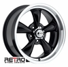 "17x8"" 930-B Retro Wheel Designs Black wheels rims 5x4.50"" Ford lug-pattern 4.50"" backspace"