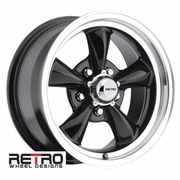 930-B Retro Wheel Designs Classic Series Black Aluminum Wheels Rims