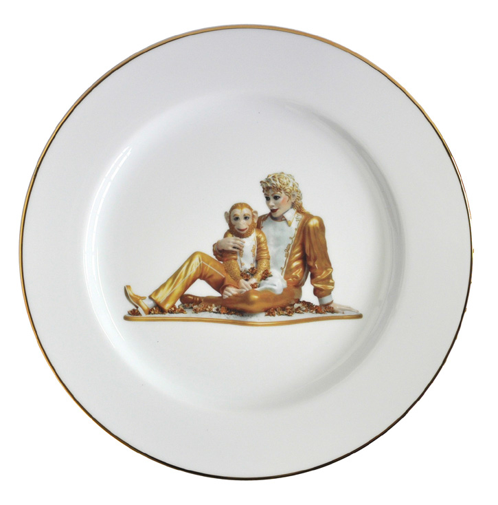 jeff koons banality series michael jackson and bubbles service plate. Black Bedroom Furniture Sets. Home Design Ideas