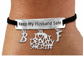 "<Br>            AN ALLAN ROBIN DESIGN!!<Br>       CADMIUM, LEAD & NICKEL FREE!! <BR>   SPECIAL ""KEEP MY HUSBAND SAFE"" <Br>W19788B - SILVER TONE AND BLACK <BR>SUEDE CHARM BRACELET WITH <BR>""I LOVE MY DEPUTY SHERIFF"" CHARM AND <BR> YOUR PERSONALIZED INITIALS ADDED <BR>        FROM $5.63 TO $12.50 �2012"