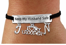 "<Br>            AN ALLAN ROBIN DESIGN!!<Br>       CADMIUM, LEAD & NICKEL FREE!! <BR>   SPECIAL ""KEEP MY HUSBAND SAFE"" <Br>W19792B - SILVER TONE AND BLACK <BR>SUEDE CHARM BRACELET WITH <BR>   ""I LOVE MY TROOPER"" CHARM AND <BR> YOUR PERSONALIZED INITIALS ADDED <BR>        FROM $5.63 TO $12.50 �2012"