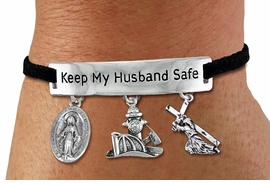 "<Br>            AN ALLAN ROBIN DESIGN!!<Br>       CADMIUM, LEAD & NICKEL FREE!! <BR>   SPECIAL ""KEEP MY HUSBAND SAFE"" <Br>  W19867B - SILVER TONE AND BLACK <BR>SUEDE CHARM BRACELET WITH FIRE FIGHTER <BR>CHARM, VIRGIN MARY & JESUS CHARMS<BR>        FROM $5.29 TO $11.75 �2012"