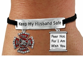 "<Br>            AN ALLAN ROBIN DESIGN!!<Br>       CADMIUM, LEAD & NICKEL FREE!! <BR>   SPECIAL ""KEEP MY HUSBAND SAFE"" <Br>  W19868B - SILVER TONE AND BLACK <BR>    SUEDE CHARM BRACELET WITH <BR>    FIRE FIGHTER THEMED CHARMS <BR>        FROM $5.63 TO $12.50 �2012"