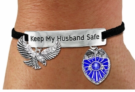 "<Br>            AN ALLAN ROBIN DESIGN!!<Br>       CADMIUM, LEAD & NICKEL FREE!! <BR>   SPECIAL ""KEEP MY HUSBAND SAFE"" <Br>  W19871B - SILVER TONE AND BLACK <BR>    SUEDE CHARM BRACELET WITH <BR>    POLICEMAN THEMED CHARMS <BR>        FROM $7.31 TO $16.25 �2012"