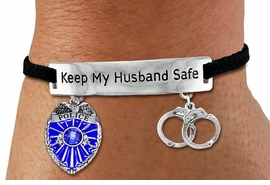 "<Br>            AN ALLAN ROBIN DESIGN!!<Br>       CADMIUM, LEAD & NICKEL FREE!! <BR>   SPECIAL ""KEEP MY HUSBAND SAFE"" <Br>  W19873B - SILVER TONE AND BLACK <BR>    SUEDE CHARM BRACELET WITH <BR>    POLICEMAN THEMED CHARMS <BR>        FROM $5.85 TO $13.00 �2012"