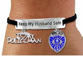 "<Br>            AN ALLAN ROBIN DESIGN!!<Br>       CADMIUM, LEAD & NICKEL FREE!! <BR>   SPECIAL ""KEEP MY HUSBAND SAFE"" <Br>  W19874B - SILVER TONE AND BLACK <BR>    SUEDE CHARM BRACELET WITH <BR>    POLICEMAN THEMED CHARMS <BR>        FROM $6.19 TO $13.75 �2012"