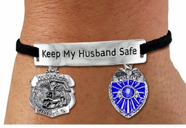 "<Br>            AN ALLAN ROBIN DESIGN!!<Br>       CADMIUM, LEAD & NICKEL FREE!! <BR>   SPECIAL ""KEEP MY HUSBAND SAFE"" <Br>  W19876B - SILVER TONE AND BLACK <BR>SUEDE CHARM BRACELET WITH POLICE <BR>AND ST. MICHAEL PROTECT US CHARMS <BR>        FROM $5.85 TO $13.00 �2012"