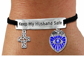 "<Br>            AN ALLAN ROBIN DESIGN!!<Br>       CADMIUM, LEAD & NICKEL FREE!! <BR>   SPECIAL ""KEEP MY HUSBAND SAFE"" <Br>  W19878B - SILVER TONE AND BLACK <BR>SUEDE CHARM BRACELET WITH POLICE <BR>AND DETAILED CHRISTIAN CROSS CHARMS <BR>        FROM $5.85 TO $13.00 �2012"