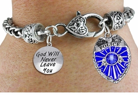 "<Br>            AN ALLAN ROBIN DESIGN!!<Br>       CADMIUM, LEAD & NICKEL FREE!! <Br>  W19885B - ANTIQUED SILVER TONE HEART <BR>CLASP CHARM BRACELET WITH POLICE AND <BR>""GOD WILL NEVER LEAVE YOU"" CHARMS <BR>        FROM $6.41 TO $14.25 �2012"