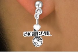 "<bR>         AN ALLAN ROBIN DESIGN<bR>               EXCLUSIVELY OURS!!<BR>CLICK HERE TO SEE 120+ EXCITING<BR>   CHANGES THAT YOU CAN MAKE!<BR>              LEAD & NICKEL FREE!!<BR>   W603SE - ""I LOVE SOFTBALL"" &<Br>       EARRINGS FROM $4.50 TO $8.35"