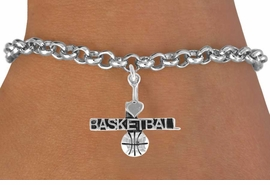 "<bR>         AN ALLAN ROBIN DESIGN<bR>              EXCLUSIVELY OURS!!<BR>CLICK HERE TO SEE 120+ EXCITING<BR>  CHANGES THAT YOU CAN MAKE!<BR>             LEAD & NICKEL FREE!!<BR>  W604SB - ""I LOVE BASKETBALL""<Br>     & BRACELET AS LOW AS $4.50"