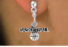 "<bR>         AN ALLAN ROBIN DESIGN<bR>               EXCLUSIVELY OURS!!<BR>CLICK HERE TO SEE 120+ EXCITING<BR>   CHANGES THAT YOU CAN MAKE!<BR>              LEAD & NICKEL FREE!!<BR>W604SE - ""I LOVE BASKETBALL"" &<Br>        EARRINGS FROM $4.50 TO $8.35"