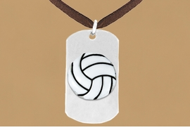 "<bR>              AN ALLAN ROBIN DESIGN<bR>                    EXCLUSIVELY OURS!!<BR>      CLICK HERE TO SEE 65+ EXCITING<BR>       CHANGES THAT YOU CAN MAKE!<BR>                   LEAD & NICKEL FREE!!<BR>W695SN - DOUBLE-SIDED VOLLEYBALL<Br>   ""NEVER GIVE UP"" DOG TAG NECKLACE<BR>                  FROM $6.25 TO $10.50<BR>                                 ©2010"